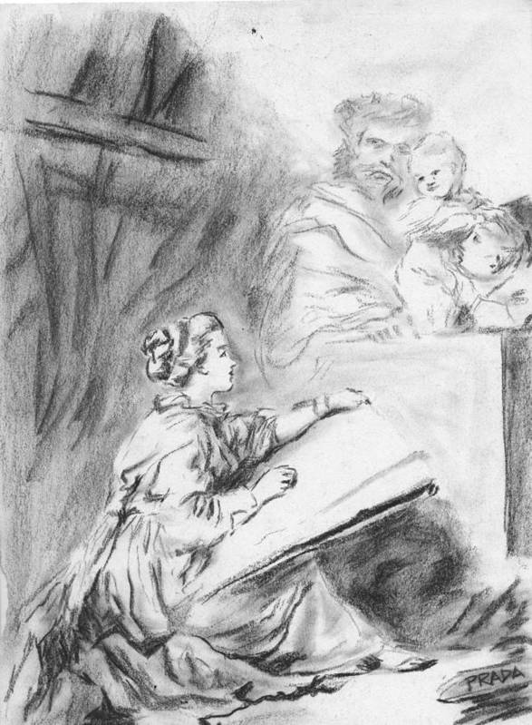 Charcoal Poster featuring the drawing Marguerite Gerard Sketching by Horacio Prada