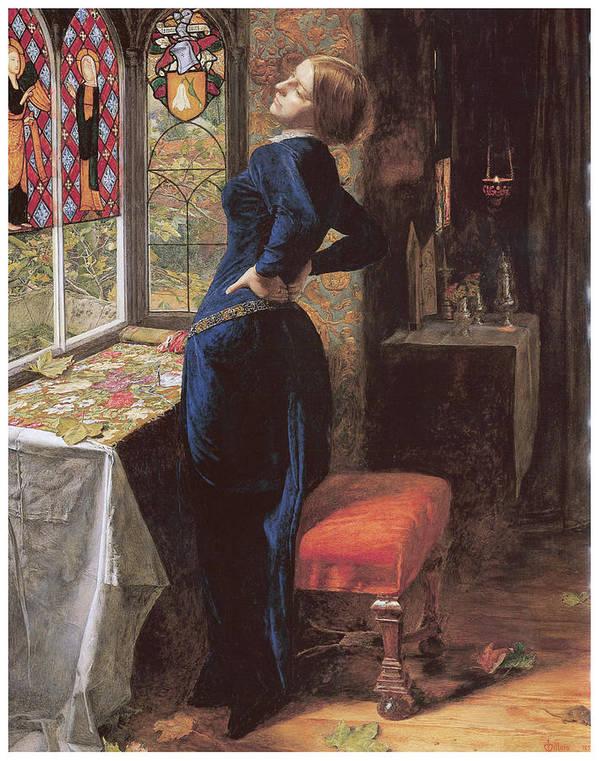 John Everett Millais Poster featuring the painting Mariana by John Everett Millais