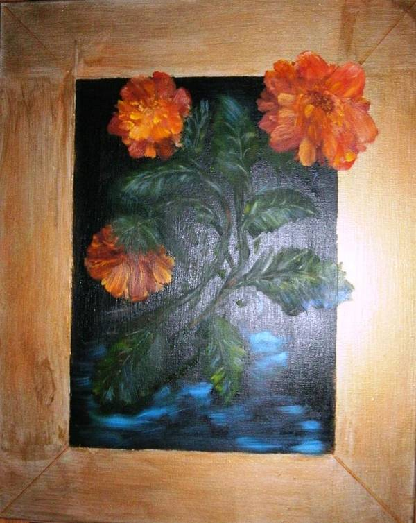 Flowers Poster featuring the painting Marigolds by Karen Lipek