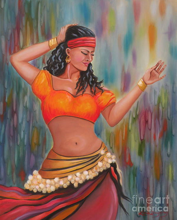 Gypsy Dancer Poster featuring the painting Marika The Gypsy Dancer by Lora Duguay
