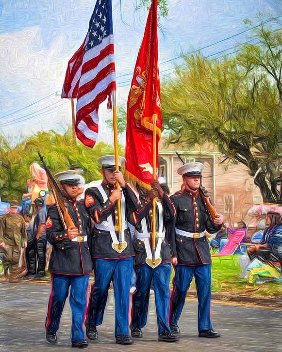 Nola Poster featuring the photograph Marine Color Guard - Paint by Steve Harrington