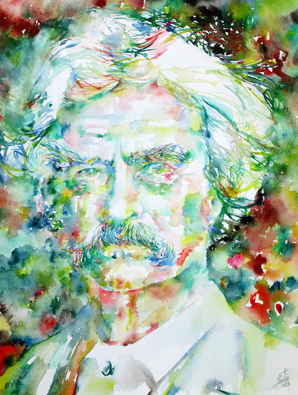 Mark Poster featuring the painting Mark Twain - Watercolor Portrait by Fabrizio Cassetta