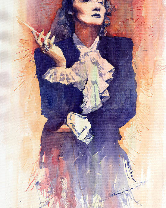 Watercolour Poster featuring the painting Marlen Dietrich by Yuriy Shevchuk