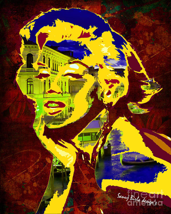 Marilynmonroe Poster featuring the digital art marlyn goes to Venice by Sanuj Birla