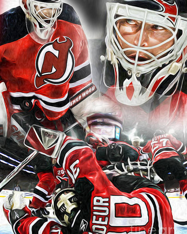 Goalie Poster featuring the painting Martin Brodeur Collage by Mike Oulton