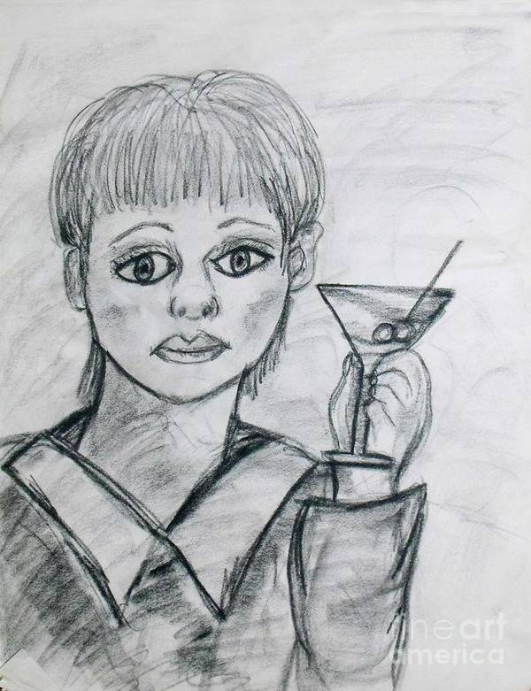 Woman Drinking Poster featuring the drawing Martini Girl by Catherine Ratliff