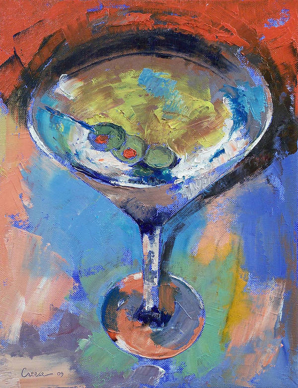 Cocktail Poster featuring the painting Martini Oil Painting by Michael Creese