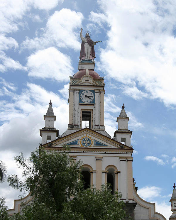 Church Poster featuring the photograph Matriz Cathedral In Cotacachi by Robert Hamm