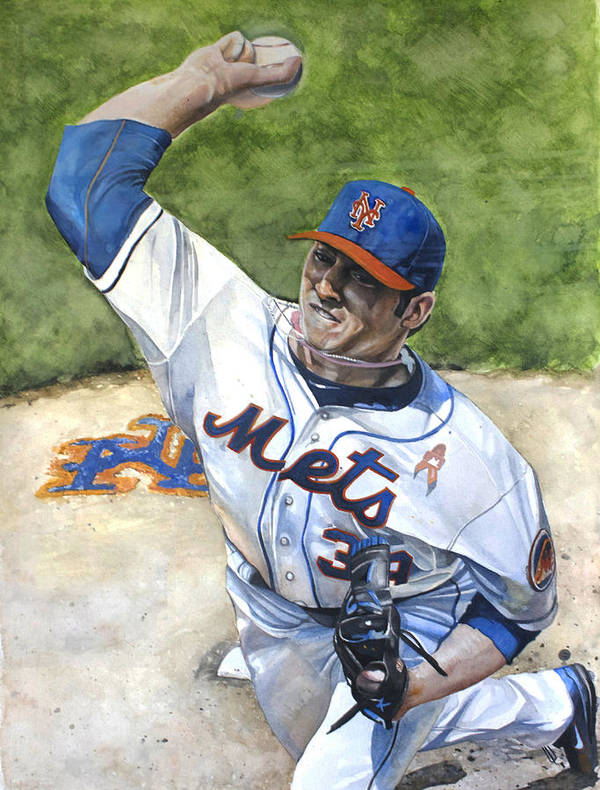 Matt Harvey Poster featuring the painting Matt Harvey by Michael Pattison