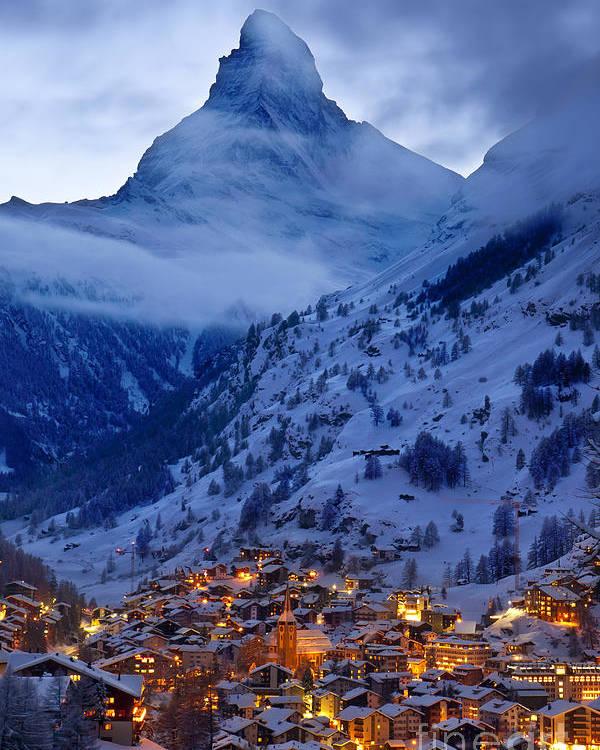 Dusk Poster featuring the photograph Matterhorn At Twilight by Brian Jannsen