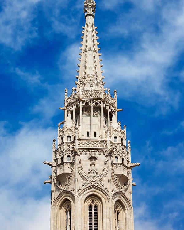 Matthias Poster featuring the photograph Matthias Church Bell Tower In Budapest by Artur Bogacki