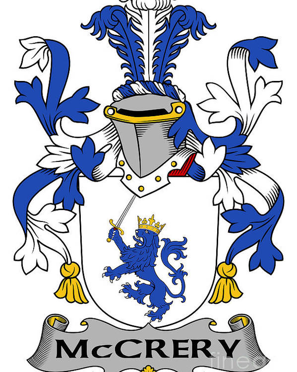 Mccrery Poster featuring the digital art Mccrery Coat Of Arms Irish by Heraldry
