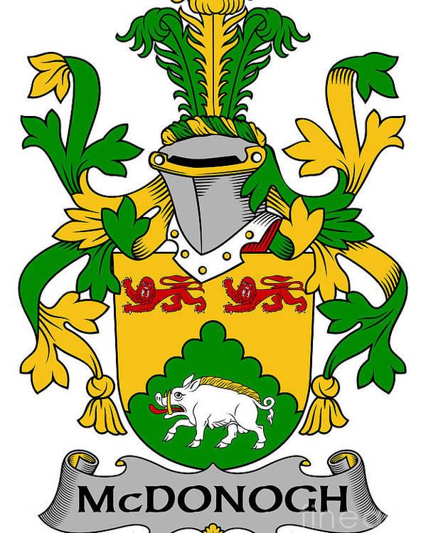 Mcdonogh Poster featuring the digital art Mcdonogh Coat Of Arms Irish by Heraldry