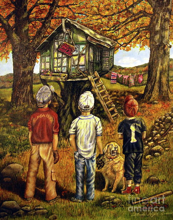 Trees Poster featuring the painting Meadow Haven by Linda Simon