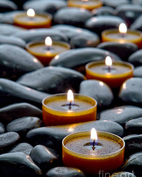 Candles Poster featuring the photograph Meditation Candles by Olivier Le Queinec