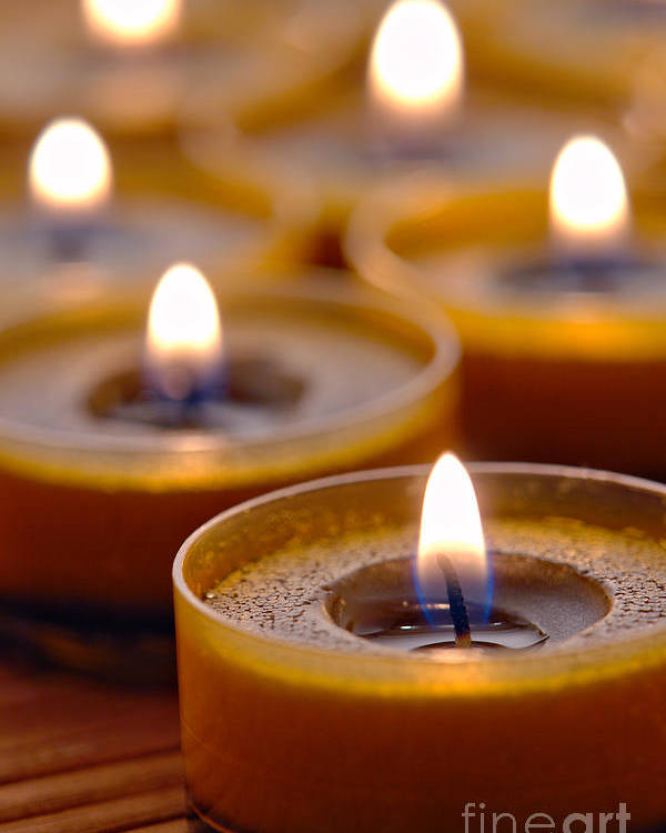 Candle Poster featuring the photograph Meditation Candles Path by Olivier Le Queinec
