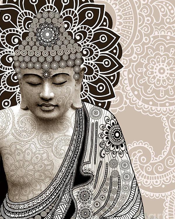Buddha Poster featuring the digital art Meditation Mehndi - Paisley Buddha Artwork - Copyrighted by Christopher Beikmann