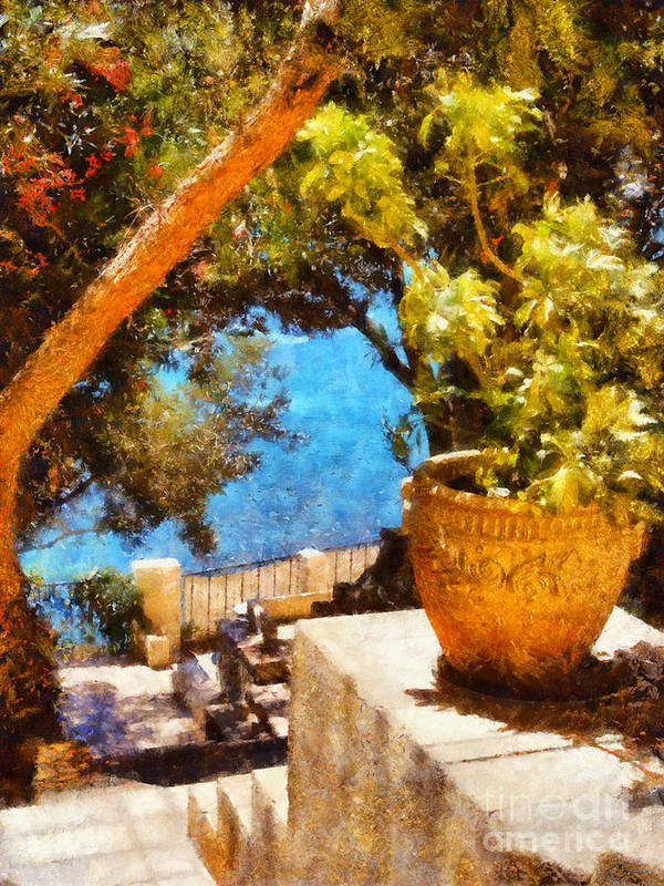 Corporate Poster featuring the painting Mediterranean Steps by Pixel Chimp
