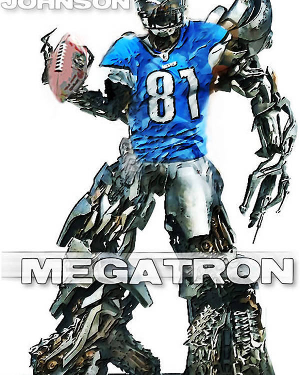 Nfl Poster featuring the digital art Megatron-calvin Johnson by Peter Chilelli