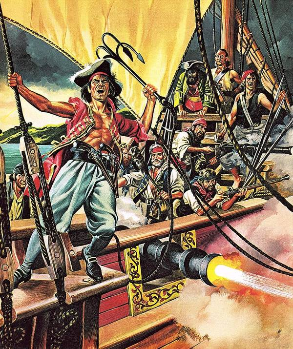 Pirates; Sailing; Ships; Blackbeard; Henry Morgan; Captain Kidd; Roman; Julius Caesar; Vikings; Barbary Pirates; Mediterranean; America; Spain; Pierre Le Grande; Caribbean; Spanish Main Poster featuring the painting Men Of The Jolly Roger by Ron Embleton