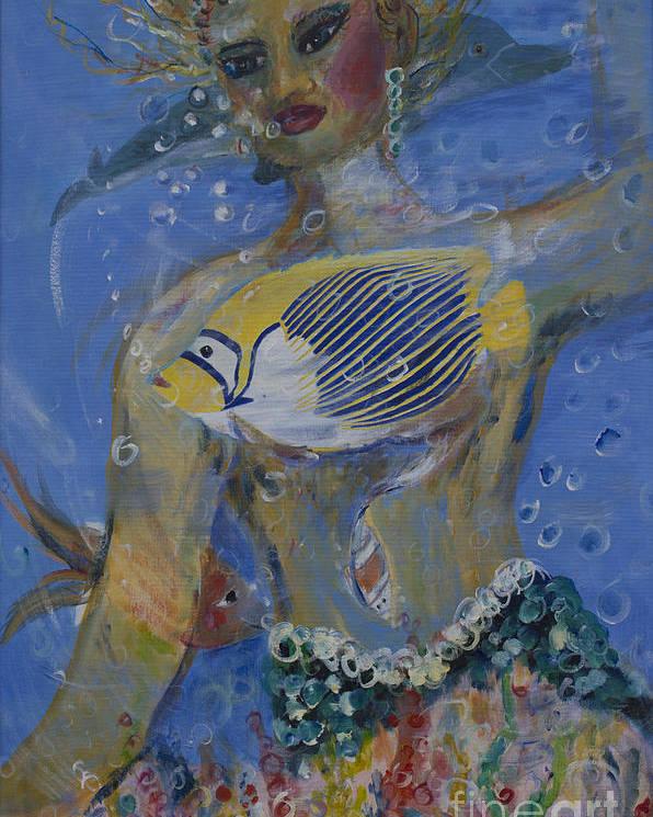 Mermaid Poster featuring the painting Mermaid by Avonelle Kelsey