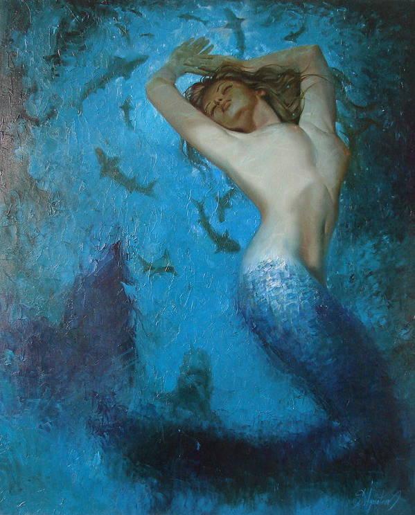 Ignatenko Poster featuring the painting Mermaid by Sergey Ignatenko