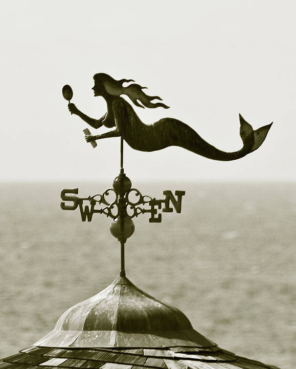 Mermaid Poster featuring the photograph Mermaid Weathervane In Sepia by Ben and Raisa Gertsberg