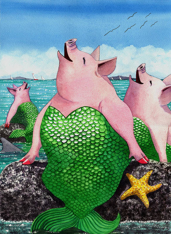 Mermaid Poster featuring the painting Merpigs by Catherine G McElroy