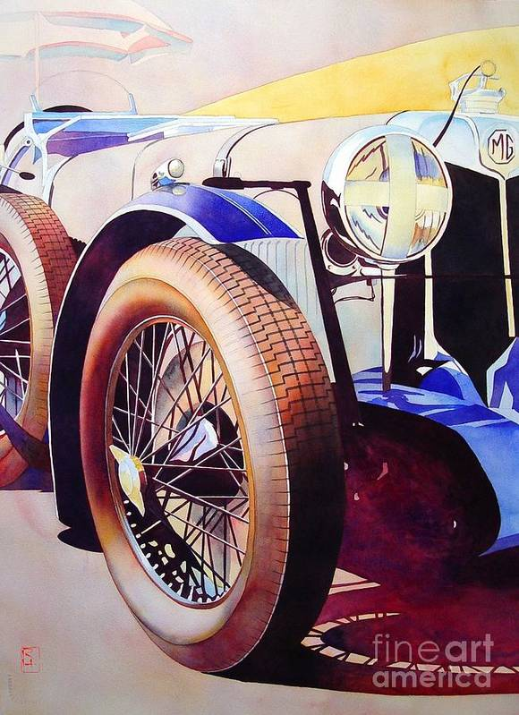 Watercolor Poster featuring the painting MG by Robert Hooper
