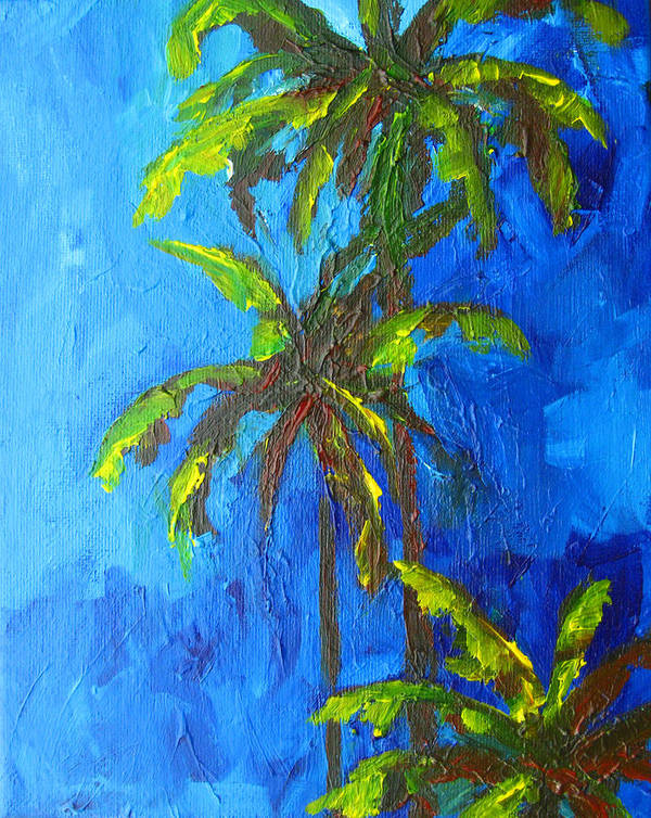 Art Poster featuring the painting Miami Beach Palm Trees In A Blue Sky by Patricia Awapara