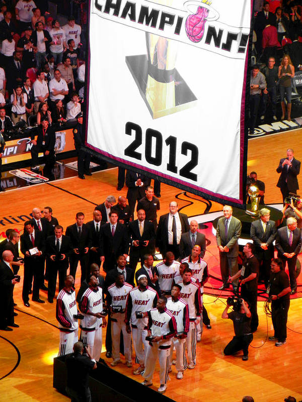 Miami Heat Poster featuring the photograph Miami Heat Championship Banner by J Anthony