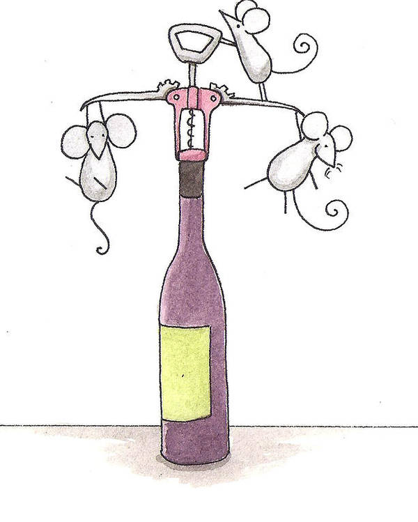 Mice Poster featuring the painting Mice With Wine by Christy Beckwith