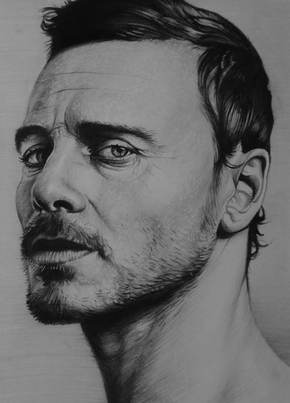 Michael Fassbender Prometheus Actor X-men First Class Poster featuring the drawing Michael Fassbender by Steve Hunter