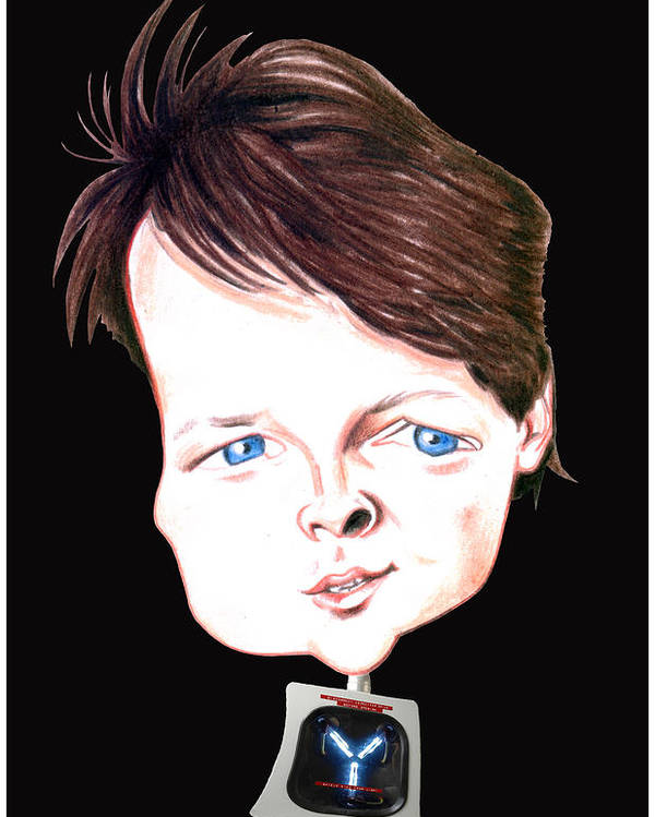 Fox Poster featuring the drawing Michael J. Fox Illustration by Diego Abelenda