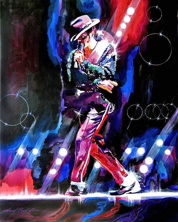 Michael Jackson Poster featuring the painting Michael Jackson Moves by David Lloyd Glover