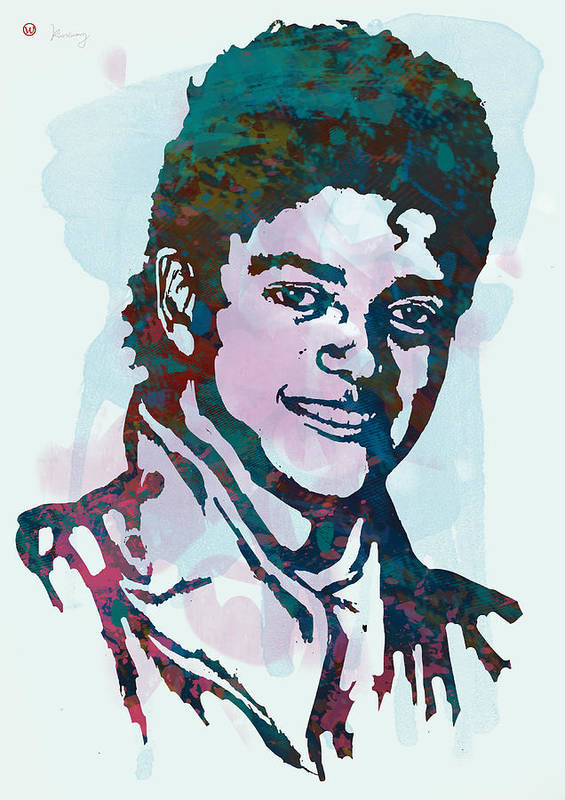Michael Jackson Stylised Pop Art Drawing Sketch Poster. Pop Art Poster featuring the drawing Michael Jackson stylised pop art poster by Kim Wang
