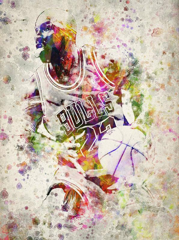 Michael Jordan Poster featuring the drawing Michael Jordan by Aged Pixel