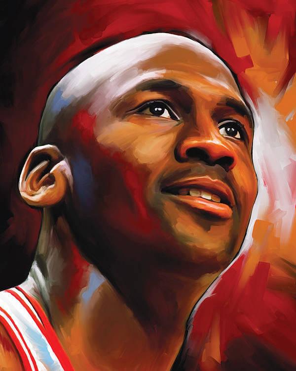 Nba Poster featuring the painting Michael Jordan Artwork 2 by Sheraz A