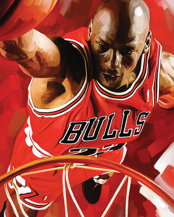 Nba Poster featuring the painting Michael Jordan Artwork 3 by Sheraz A