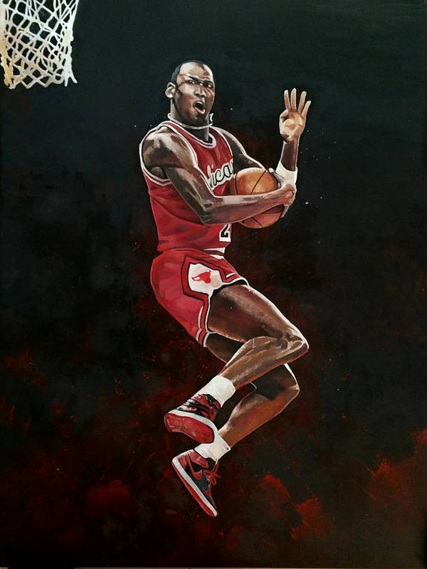 bf805143421 Michael Jordan Poster featuring the painting Michael Jordan Cradle Dunk by  Michael Pattison