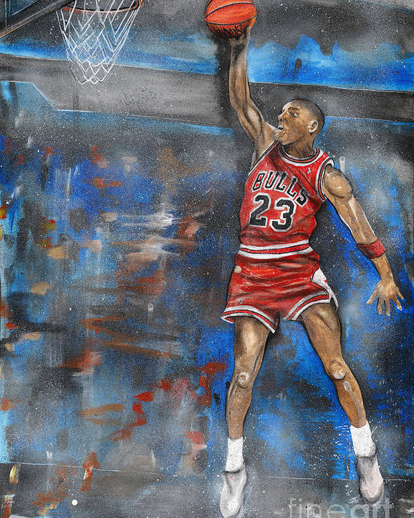 Michael Poster featuring the painting Michael Jordan Dunk by Charlie Palline