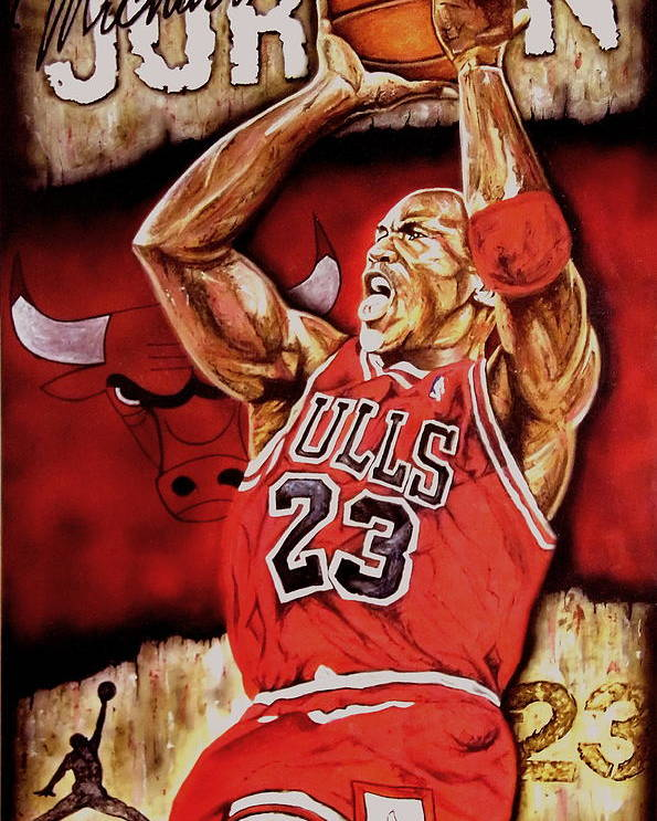 Michael Jordan Poster featuring the painting Michael Jordan Oil Painting by Dan Troyer