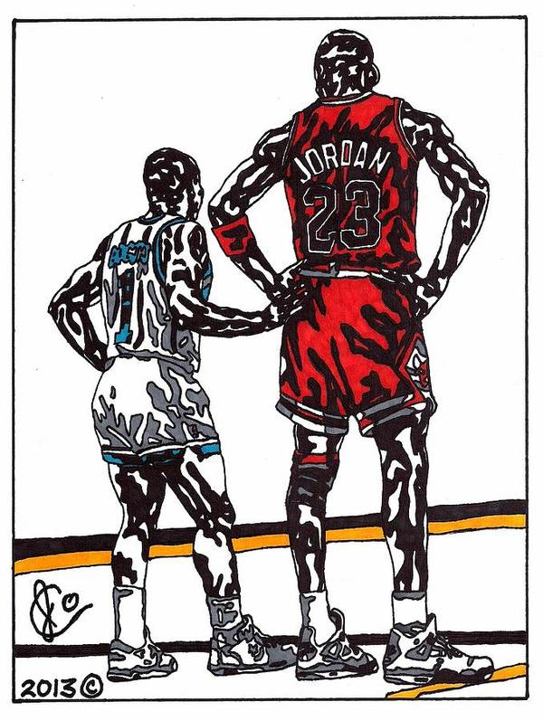 American Basketball Poster featuring the drawing Micheal Jordan 1 by Jeremiah Colley