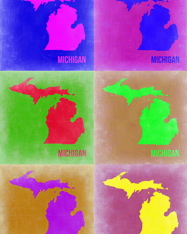 Michigan Pop Art Map 2 Poster By Naxart Studio