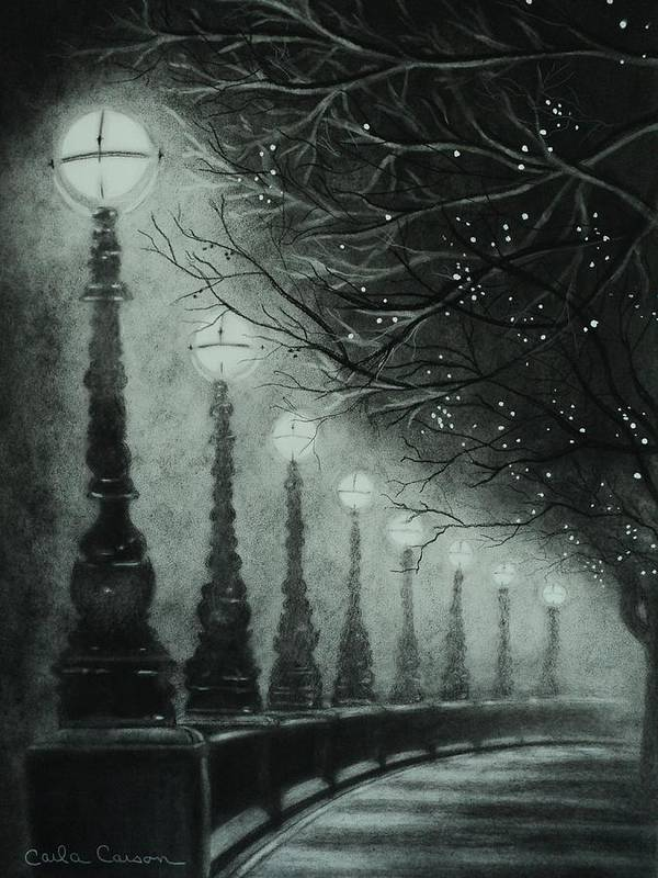 Charcoal Poster featuring the drawing Midnight Dreary by Carla Carson