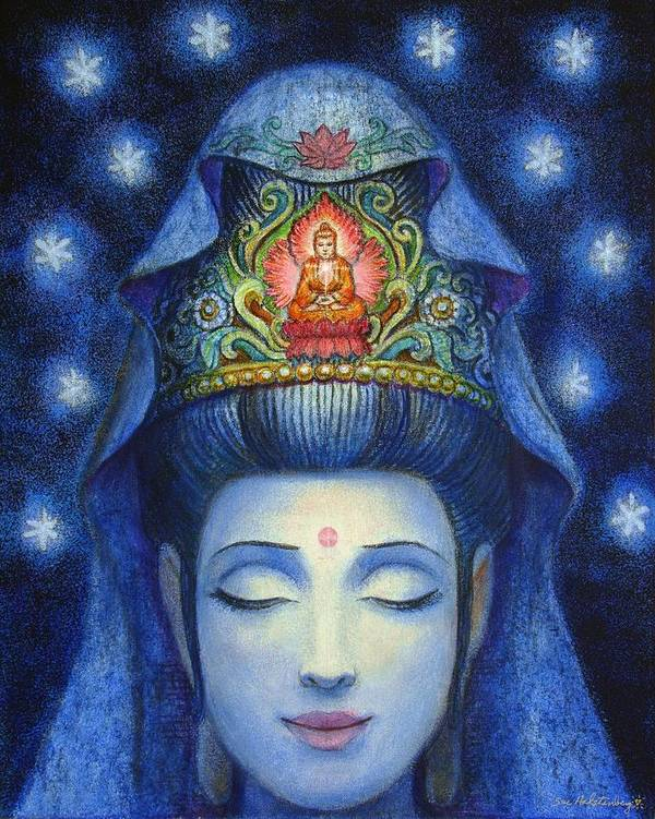Kuan Yin Poster featuring the painting Midnight Meditation Kuan Yin by Sue Halstenberg