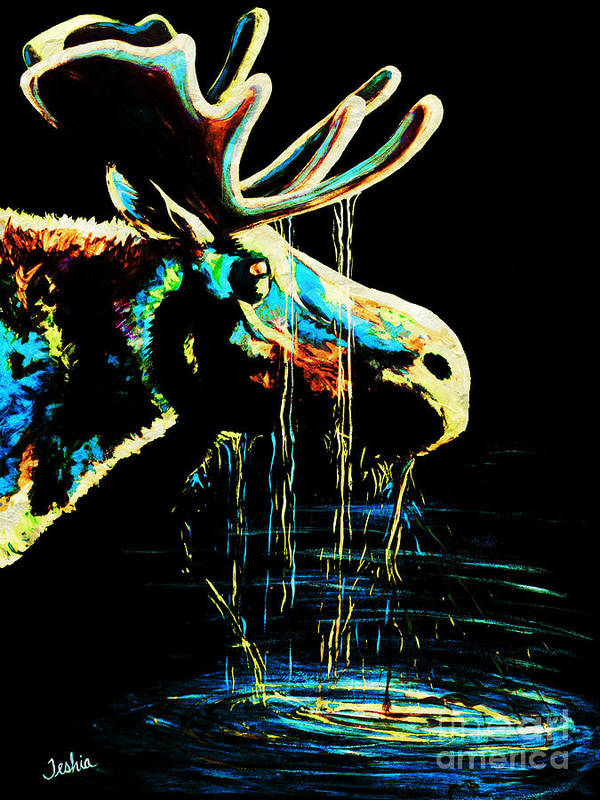 Moose Poster featuring the painting Midnight Moose Drool by Teshia Art