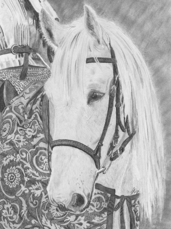 Horse Poster featuring the drawing Midsummer Knight Majesty by Gigi Dequanne