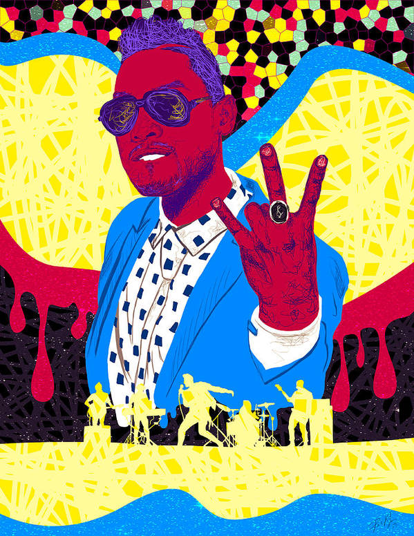 Miguel Drawing In Lines Poster featuring the drawing Miguel Drawing In Lines by Kenal Louis