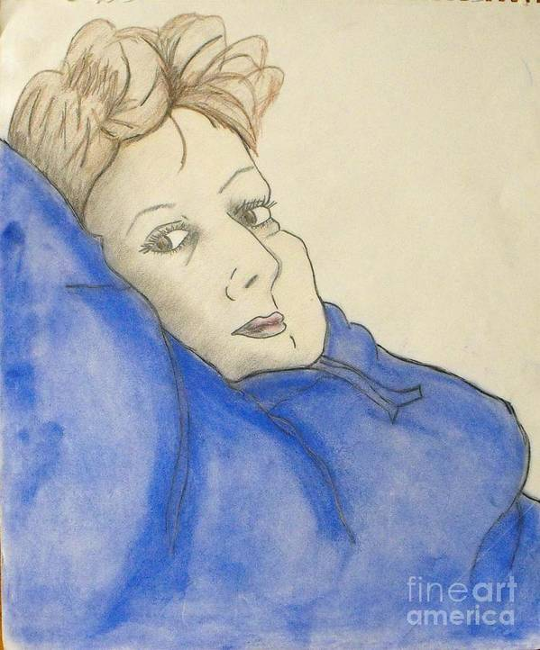 Woman Laying Back Poster featuring the mixed media Mikki In Blue by Catherine Ratliff